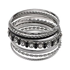 Black & White Textured Bangle Bracelet Set