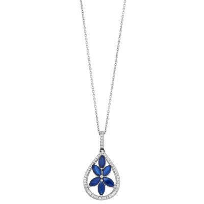Sterling Silver 1/10 Carat T.W. Diamond & Blue Sapphire Teardrop Pendant Necklace