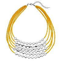 Yellow Bead Multi Strand Statement Necklace