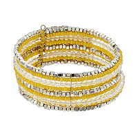 Yellow Seed Bead Multi Row Bracelet