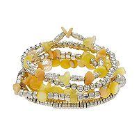 Yellow Beaded Multi Row Stretch Bracelet