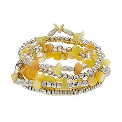 Yellow Beaded Multi Row Stretch Bracelet