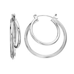 Silver Tone Double-Hoop Earrings