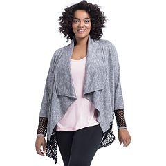 Plus Size Marika Curves Mesh Drape Cardigan