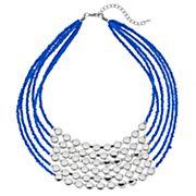 Blue Bead Multi Strand Statement Necklace