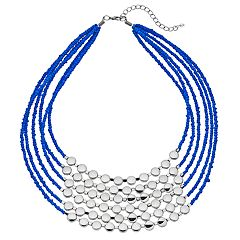 Blue Bead Multi Strand Statement Necklace