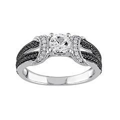 Stella Grace Sterling Silver Lab-Created White Sapphire & 1/4 Carat T.W. Diamond Split Shank Ring