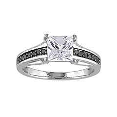 Stella Grace Sterling Silver Lab-Created White Sapphire & 1/8 Carat T.W. Black Diamond Ring