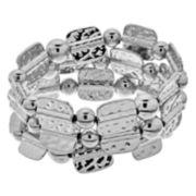 Silver Tone Hammered Stretch Bracelet Set