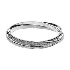 3-piece Silver Tone Glitter Bangle Bracelet Set