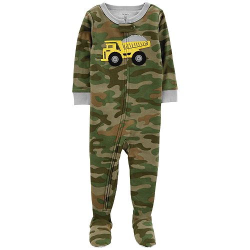 297866865 Baby Boy Carter s Dump Truck Camo Footed Pajamas