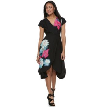 Women's Jennifer Lopez Floral Crepe Faux-Wrap Dress