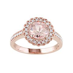 Stella Grace Rose Gold Tone Sterling Silver Morganite & 1/8 Carat T.W. Diamond Halo Ring