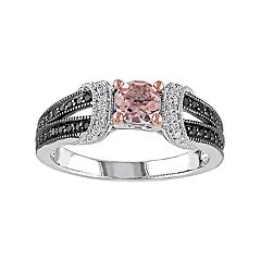 Stella Grace Sterling Silver Morganite & 1/4 Carat T.W. Diamond Split Shank Ring