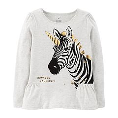 Girls 4-14 Carter's 'Express Yourself' Unicorn Zebra Peplum Graphic Tee