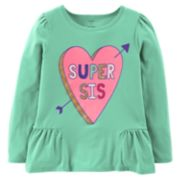 "Girls 4-14 Carter's ""Super Sis"" Heart Peplum Graphic Tee"