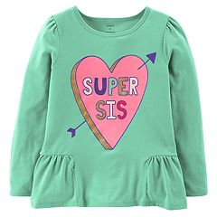 Girls 4-14 Carter's 'Super Sis' Heart Peplum Graphic Tee