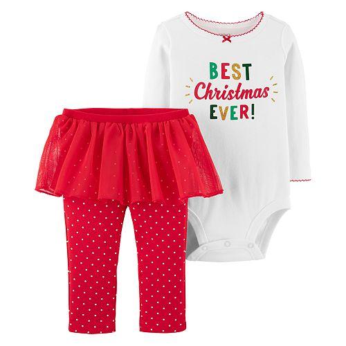 """Baby Girl Carter's """"Best Christmas Ever"""" Bodysuit & Polka-Dot Tutu Leggings"""