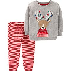 793cec0e1084 Baby Carter's Reindeer Sweater & Striped Pants Set