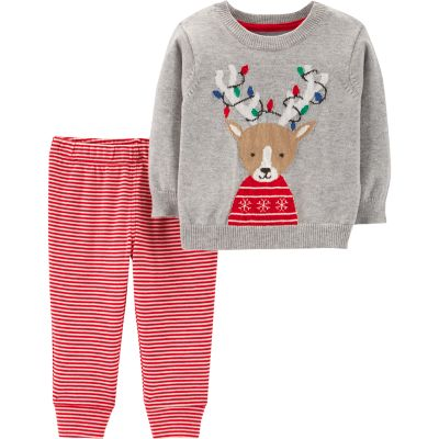 Baby Carter's Reindeer Sweater & Striped Pants Set