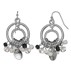 Black & White Bead Nickel Free Cluster Drop Earrings