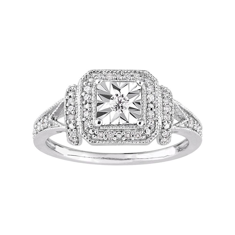 Stella Grace Sterling Silver 1/5 Carat T.W. Diamond Square Halo Ring