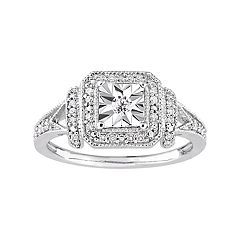 Stella Grace Sterling Silver 1/5 Carat T.W. Diamond Square Halo Ring