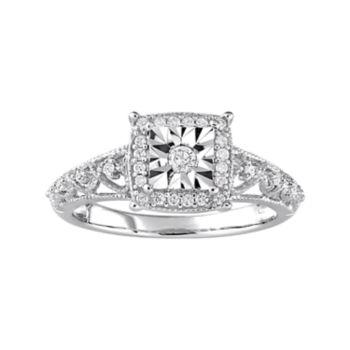 Stella Grace Sterling Silver 1/5 Carat T.W. Diamond Filigree Square Halo Ring
