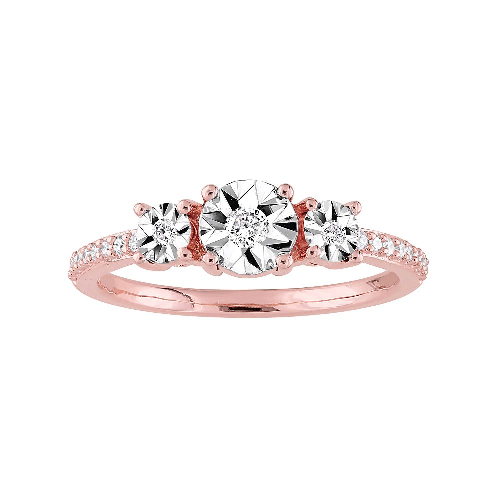 Stella Grace Rose Gold Tone Sterling Silver 1/8 Carat T.W. Diamond 3-Stone  Ring