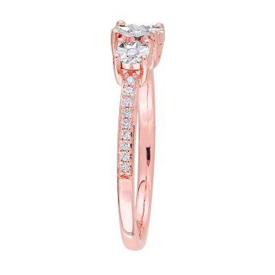 Stella Grace Rose Gold Tone Sterling Silver 1/8 Carat T.W. Diamond 3-Stone  Ring