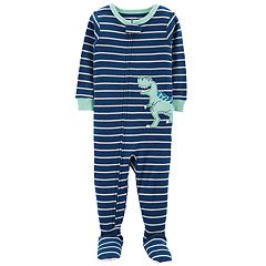 Toddler Boy Carter's Striped T-Rex Dinosaur Footed Pajamas