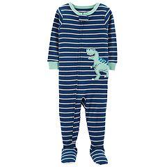 Toddler Boy Carter's Striped T-Rex Dinosaur Footed Pajamas