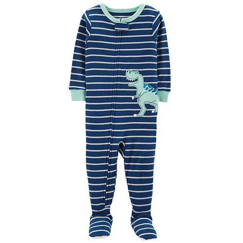 5404c3a54 Toddler Boy Carter s Striped T-Rex Dinosaur Footed Pajamas
