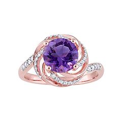 Stella Grace Rose Gold Tone Sterling Silver Amethyst & White Topaz Swirl Ring