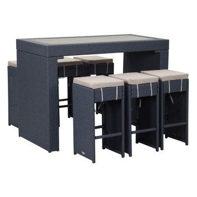 Safavieh Indoor / Outdoor Wicker Bar & Stool 7-piece Set