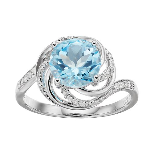 Stella Grace Sterling Silver Blue & White Topaz Swirl Ring