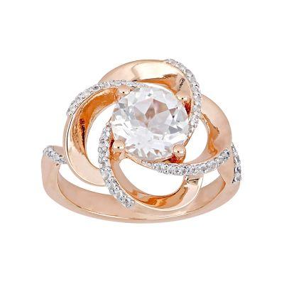 Stella Grace Rose Gold Tone Sterling Silver White Topaz Swirl Ring