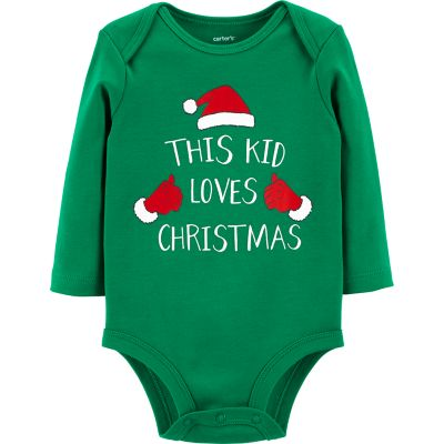"""Baby Carter's """"This Kid Loves Christmas"""" Graphic Bodysuit"""