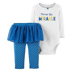 Baby Girl Carter's 'Mommy's Little Miracle' Bodysuit & Polka-Dot Tutu Leggings Set