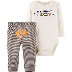 Baby Carter's 'My First Thanksgiving' Bodysuit & Striped Pants Set