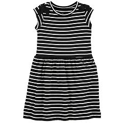 Girls 4-12 Carter's Striped Bow-Shoulder Dress