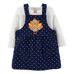 Baby Girl Carter's Polka-Dot Turkey Jumper & Bodysuit Set