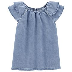Girls 4-14 Carter's Chambray Ruffled Top