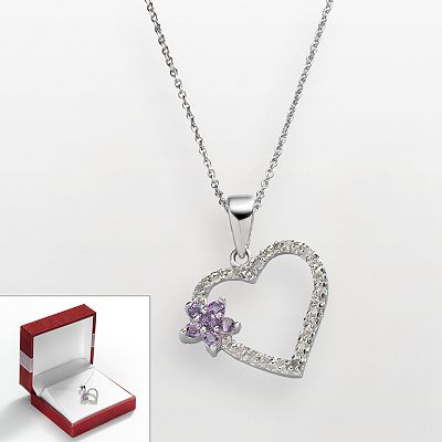 Sterling Silver 1/10-ct. T.W. Diamond and Amethyst Heart Pendant