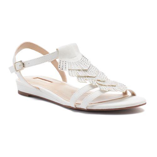 Jennifer Lopez Pecan Women's ... Embellished Fringe Sandals