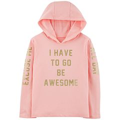 Girls 4-12 'Excuse Me I Have To Be Awesome' Glitter Hoodie