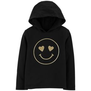Girls 4-12 Carter's Glittery Smiley Face Hoodie
