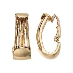 Dana Buchman Chain Clip-On U-Hoop Earrings