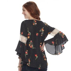 Juniors' HeartSoul Floral Bell Sleeve Top