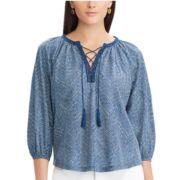 Women's Chaps Lace-Trim Peasant Top